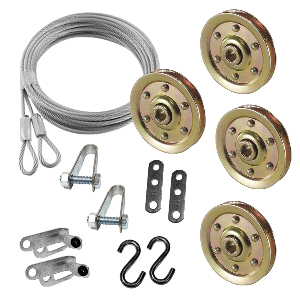 Garage Door Pulley 3 Inch & Safety Cable Complete Kit